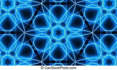 bleu, vj, kaléidoscopique, fractal, fond