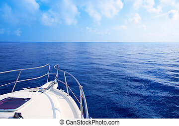 bleu, voile, méditerranéen, arc, mer, bateau