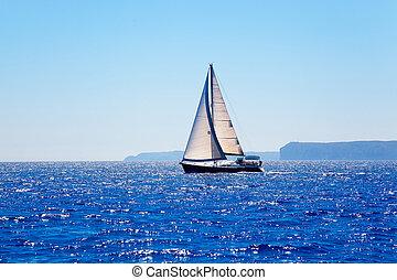 bleu, voilier, méditerranéen, voile