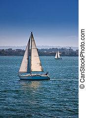 bleu, voiliers, eaux