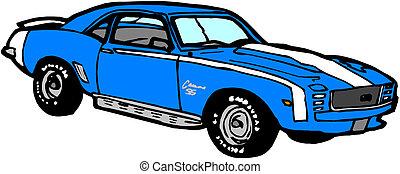 bleu, voiture sport