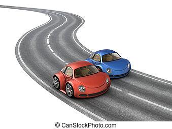 bleu, voitures, course, route, rouges