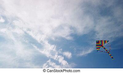 bleu, voler, arc-en-ciel, cerf volant, ciel