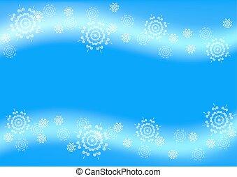 bleu, voler, flocons neige, fond, noël