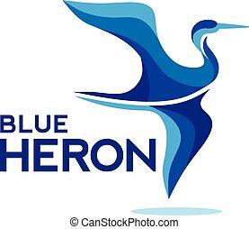 bleu, voler, héron