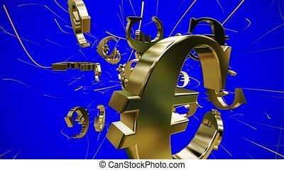 bleu, voler, signes euro