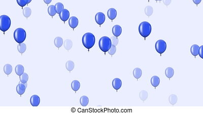 bleu, voler, sombre, arrière-plan., animation, ballons