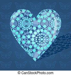 bleu, volumineux, points, fait, coeur