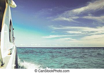 bleu, voyage, bateau, mer