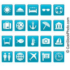 bleu, voyage, carrés, icônes