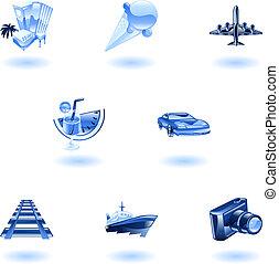 bleu, voyage, ensemble, icône, tourisme
