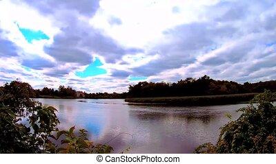 bleu, vrai, ciel, nuages, lake., temps