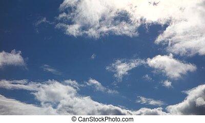 bleu, vrai, ciel, nuages, temps