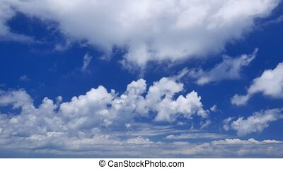bleu, vrai, coup, ciel, nuageux, temps