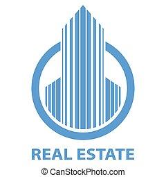 bleu, vrai, emblème, propriété, isolé, arrière-plan., vecteur, gabarit, blanc