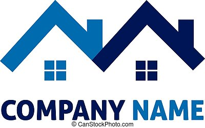 bleu, vrai, logo, maisons, propriété
