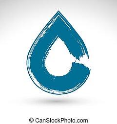bleu, vrai, peint, naturel, créé, simple, symbole, goutte, vectorized., isolé, main, eau, fond, balayé, brosse, encre, dessiné, blanc, icône