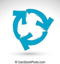 bleu, vrai, reprise, créé, simple, mise jour, vectorized., isolé, rafraîchir, signe, fond, balayé, encre, icône, dessiné, brosse, main, navigation, blanc, symbole., main-peint