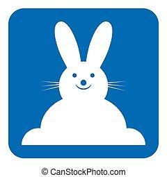 bleu, vue, -, signe, devant, sourire, lapin, blanc, icône