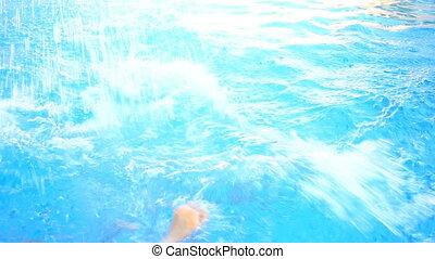 bleu, water., eau, above., sous, nage, homme, piscine, vue