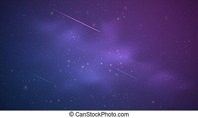bleu, way., magie, pourpre, étoilé, laiteux, ciel, illustration, stars., vecteur, briller, fond, tomber, lumineux, tir, comets., ton, design.
