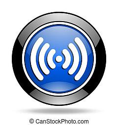bleu, wifi, lustré, icône