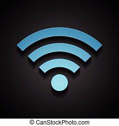 bleu, wifi, technologie, fond, noir, icône
