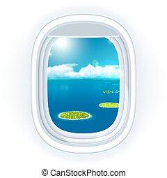 bleu, (window), illustration, sur, vue, il, isolé, exotique, réaliste, avion, vecteur, par, sea., mer, hublot, petit, voyager, océan, ou, îles, white.