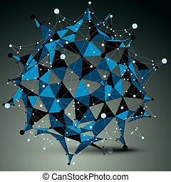 bleu, wireframe., éléments, figure, numérique, objet, vecteur, noir, spatial, géométrique, technologie, 3d