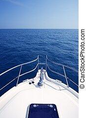 bleu, yacht, canot automobile, arc, mer, vue océan