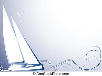 bleu, yacht, fond, ba