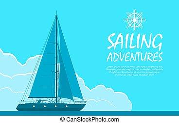 bleu, yacht, voile