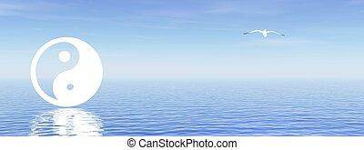 bleu, yang yin, océan