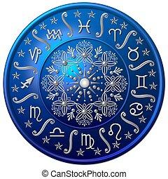 bleu, zodiaque, disque