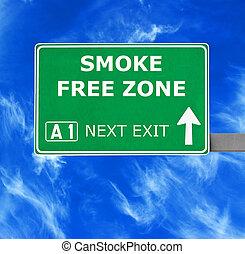 bleu, zone, ciel clair, contre, signe, gratuite, fumée, route