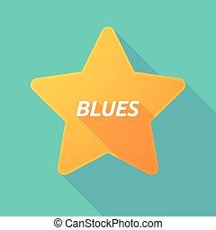 bleus, étoile, texte, long, ombre