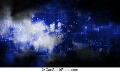 bleus, carrée, cosmique, boucle, espace