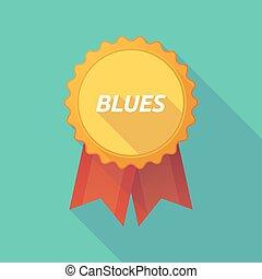 bleus, ombre, long, écusson, texte
