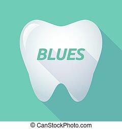 bleus, ombre, long, texte, dent