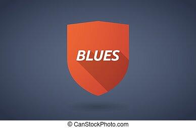 bleus, texte, bouclier, long, ombre