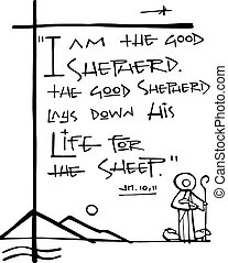 Bliblic phrase: I am the good Shepherd - Hand drawn vector...