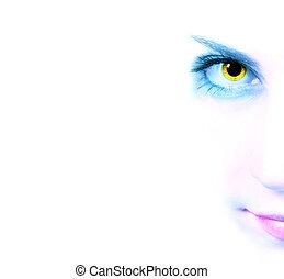 blick, avbild, kvinna, beskuren
