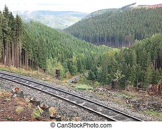 Blick ins Tal - Gleis, Wald, Berge, Mittelgebirge, Blick ins...