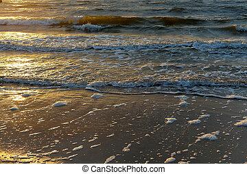 blid, baltisk, solnedgång, hav, vågor
