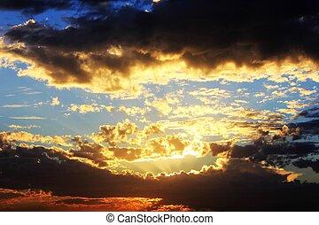 blid, stilla, solnedgång