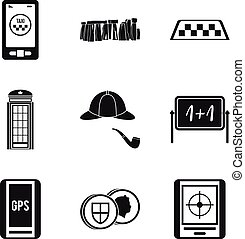 Blighty icons set, simple style