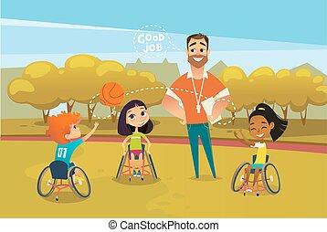 blij, invalide, geitjes, in, rolstoelen, spelend, met, bal, en, mannelijke , trainer, staand, dichtbij, hen, en, supervising., concept, van, adaptief, sporten, voor, children., vector, illustratie, voor, advertentie, spandoek, poster.