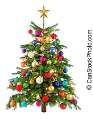 blij, kleurrijke, kerstboom