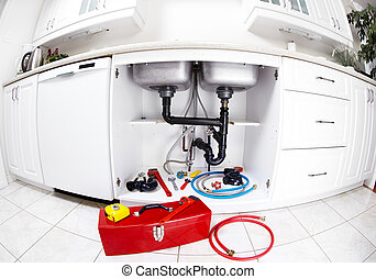 blikkenslager, redskaberne, på, den, kitchen.