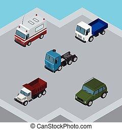 blindé, ensemble, elements., aide, isométrique, inclut, aussi, premiers secours, vecteur, voiture, ambulance, fret, autre, objects., transport